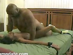 Big black guy fucks tied ebony babe