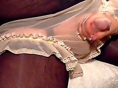 sissy cums his frilly panties