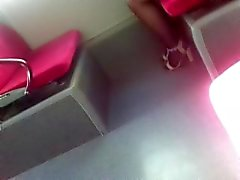 Candid open-shoes nyloned girl on the bus