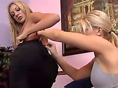 Blonde lesbians fuck with strapon