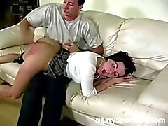 Naughty schoolgirl spanked