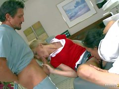 Dr Breanne Benson shares hard dick with blonde