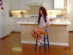 Long haired Teen has has arousing interview in kitchen