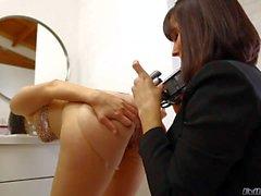 Kimberly Kane eats Lesbian hairy pussy on camera