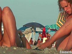 Nudista Lesbica Coppia Spiaggia Voyeur Spy Cam HD Video