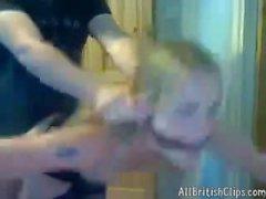 Déchainé anglais blonds de baises sur la webcam Colombie euro de Brit cumsho européen