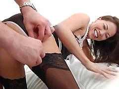 Asiat femme de chambre nylons