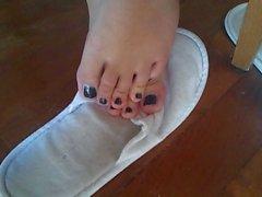 I piedi sexy del exgf il sincere smalto per unghie nero!