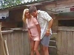 Outdoor shag with busty blonde