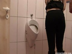 Horny wife cheating on public toilet