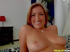 Big titty Teen Alyson Westley plays with her shaved snatch and gives bj