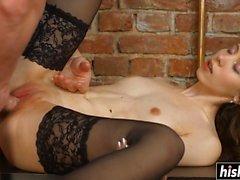 Hot Carmen plays with a stiff shaft