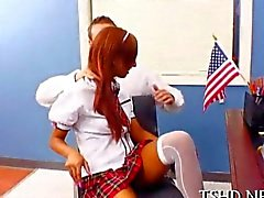 Skinny Latina schoolgirl seduces her teacher