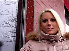 Blonde flashing in public and fucking