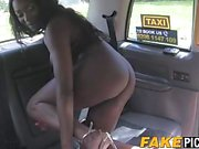 Pretty bubble butt ebony pleasuring her cabbies wet pussy