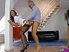 Teen in uniform sucks a rod of an old man