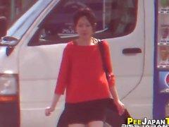 Japanese slut pee street