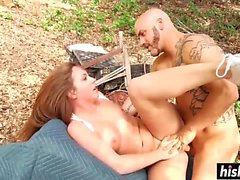 Sexy brunette engages in an outdoor fuck