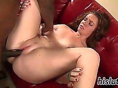 Kinky brunette Emily rides a long member
