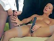Luxury babes in stockings enjoying strap
