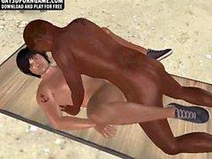 Zwei sexy 3D hunks müssen interracial analen