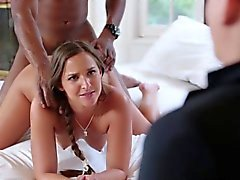 Hubby watches blonde wife get fucked by black cock 1