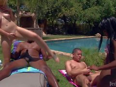 Interracial poolside foursome with Coffee Brown and Rylie Richman