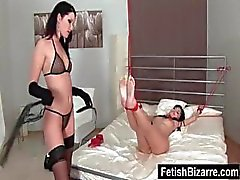 X-rated bad kitty with normal pink lips do a little bondage with her lesbian lover