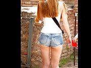 Cute Petite Redhead & Brunette Friend Tour Rome In Short Sho