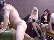 Femdom fetish hottie fucked before her friends
