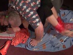 Toe-tied and mummified in Saran Wrap!