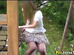 Asian pees pink panties