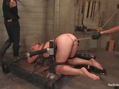 Horny young slut Da Zerva gets bound to the table and fucked by toys
