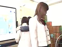 Attractive Japanese schoolgirls explore their intense lesbi