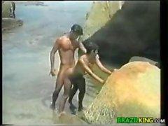 Horny Brazilians Fucking In The Ocean