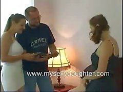 Old Uncle Threesome Taboo Group sex with Daughter on Bed