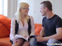 She Is Nerdy - Cumshot on glasses makes nerdy gal happy