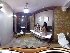 VR Porn Lesbian Bath Tub Party