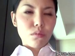2 Sexy Japanese stewardess serv a perv in his hotel room