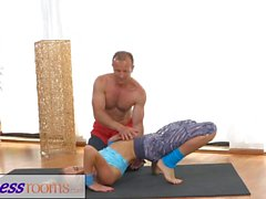 FitnessRooms Ivana Sugar has a full body and pussy stretch with trainer