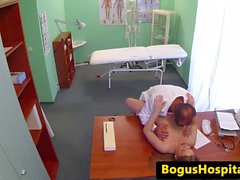 Smalltitted patient jerking off doctor