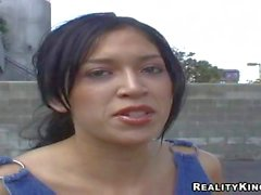 Teen Latina in denim outfit gets naked at interview