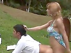 Shemale Fucking A Dude Outdoors