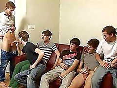 Six Handsome Boys Jerking And Blowjob Frenzy