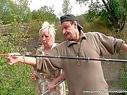 Mature couple having fun in nature