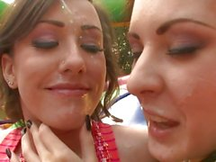 Candice Mia and Jennifer White covered with cum on face