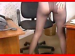 hottie dildoing in black pantyhose