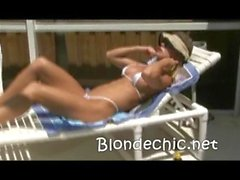 Georgia Luv Poolside In sexy white Thong Bikini