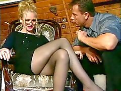 Girls in av nylon Strumpbyxa Stockings blir knullade