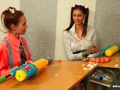 Schoolgirls shooting dirty cream at their strict teacher